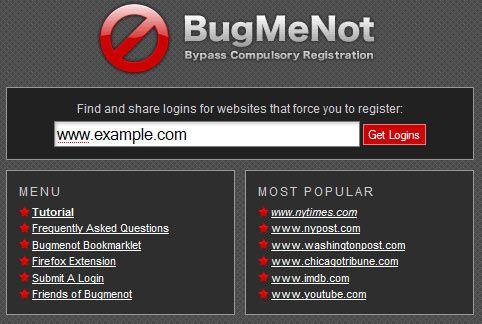 BugMeNot  - Disposable Login Details