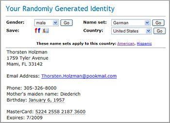 Fake Name Generator Tool