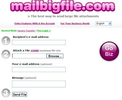 Send large files by email.