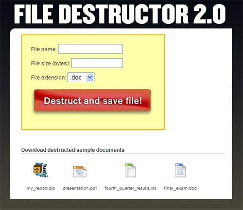 file destructor   File Destructor : Fake File Generator
