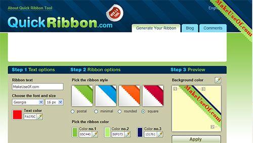 QuickRibbon - Website Ribbon Generator