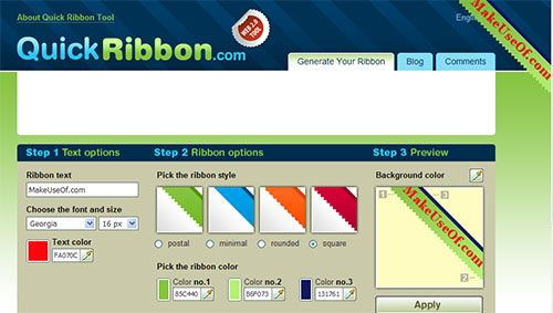 QuickRibbon - Website Ribbon Generator