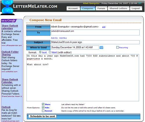 LetterMeLater - Send Scheduled Emails