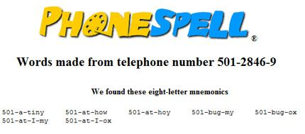 PhoneSpell - What does your Phone Number Spell ?
