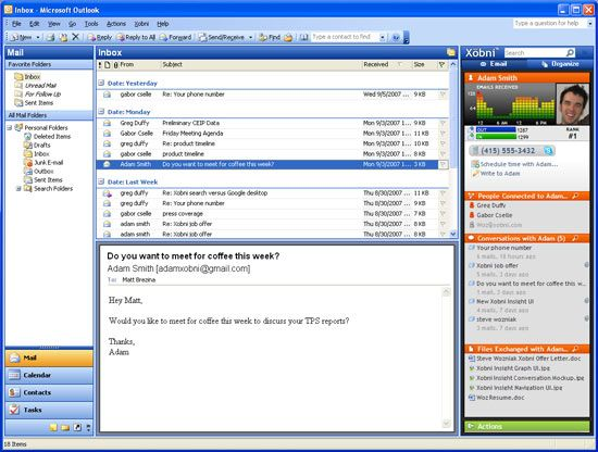 Xobni - Excellent Contact Manager for Microsoft Outlook