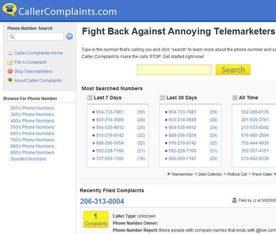 Caller Complaints -