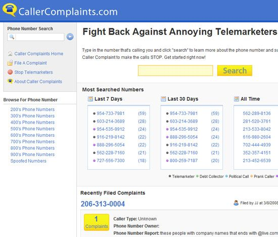 caller complaints   CallerComplaints: Database of Telemarketer Phone Numbers