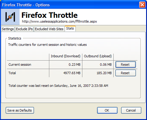 Limit the upload and download rates (throttling) for Firefox