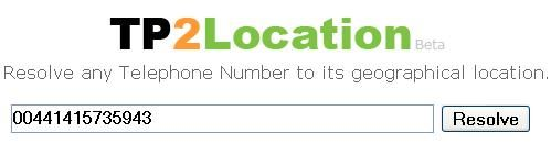Tp2Location - Resolve Phone Number to its Geographical Location