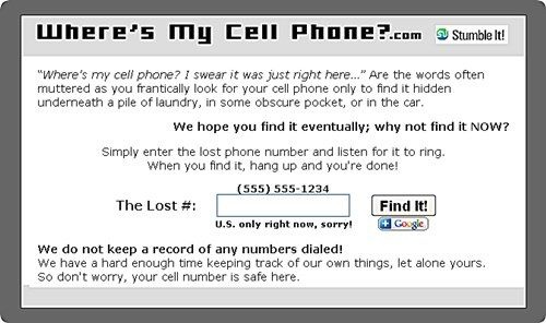 whereismycellphone   WhereisMyCellPhone : Call your Own Cell Phone