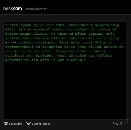 DarkCopy - Full-Screen Online Text Editor