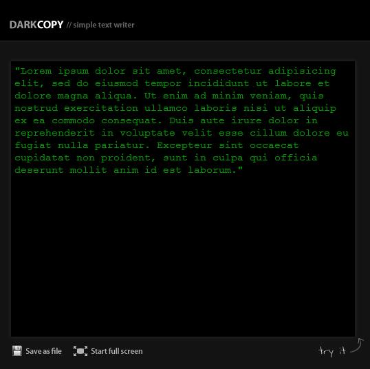 darkcopy online writeroom   DarkCopy : Full Screen Online Text Editor