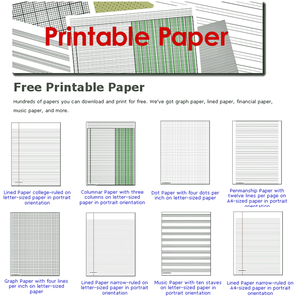 Printable Paper: Free Paper Templates