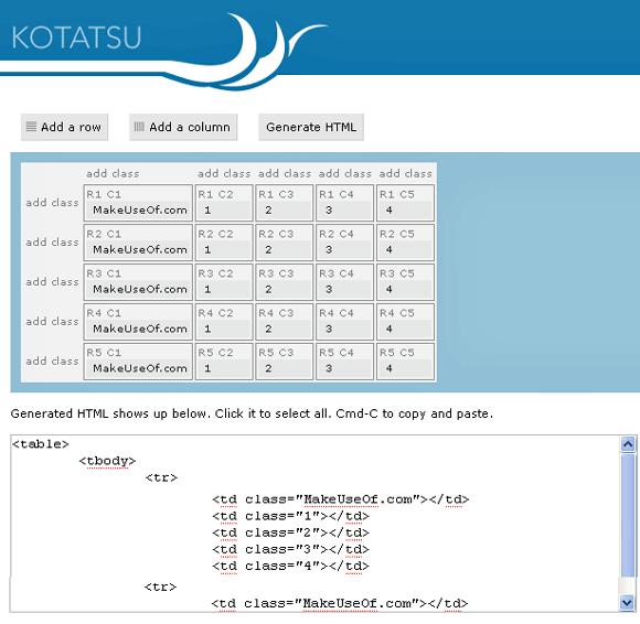 Kotatsu - Easy HTML Table Generator
