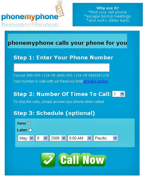phonemyphone   PhoneMyPhone: Schedule Calls to your Phone