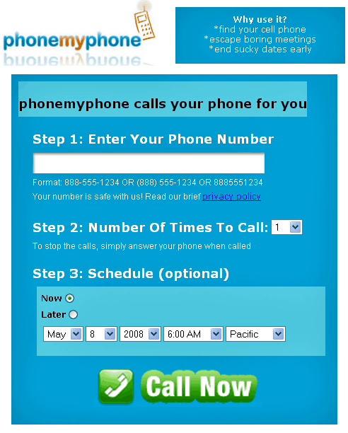 phonemyphone   PhoneMyPhone: Schedule Calls to your Phone