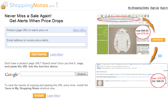 ShoppingNotes - Get Notified on Price Drops