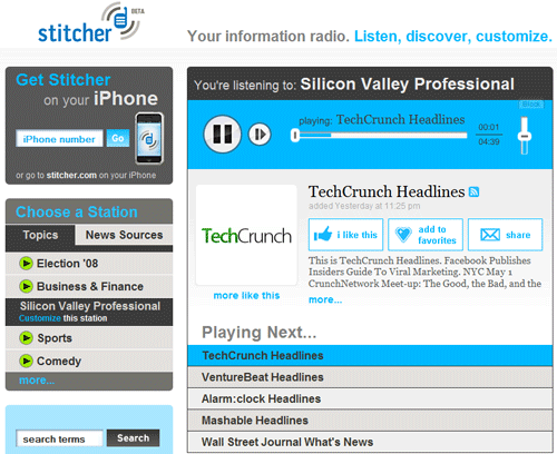 Stitcher - Listen to News and Blog Headlines from iPhone