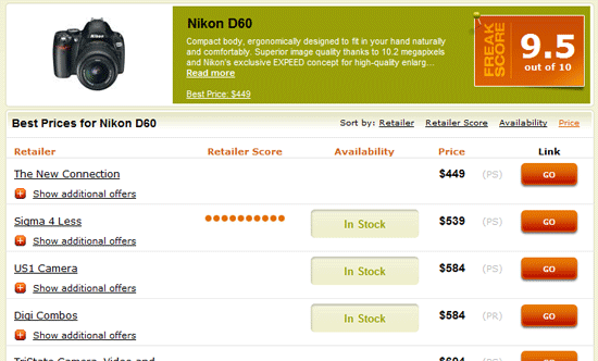 Gadget Price Comparison