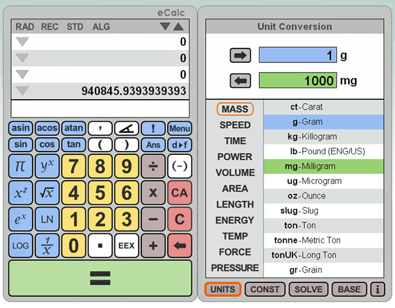 ecalc   eCalc: Quick Online Calculator and Unit Converter