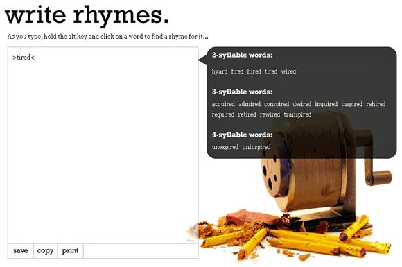 rhymes word