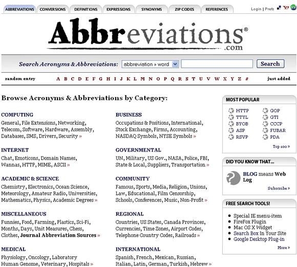 search abbreviation and acronym meanings