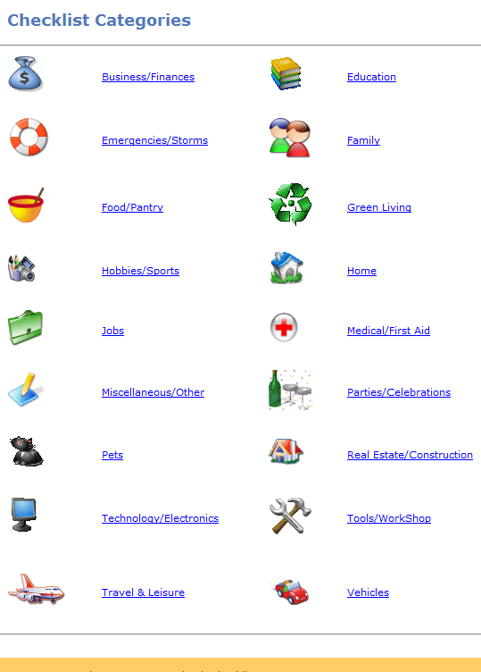 checklists   SimplyChecklists: Free Checklists for Everyday Life
