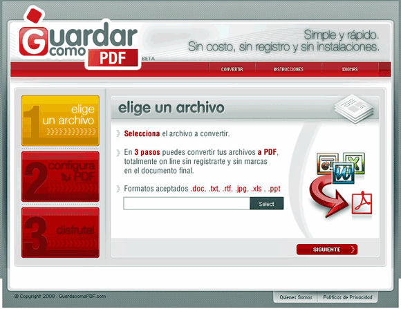 guadarcomopdf   GuardarComoPDF: Convert doc, txt, rtf, jpeg, xls, ppt to PDF online