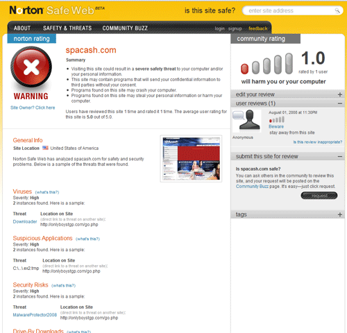 norton safeweb 2   Norton SafeWeb: Is This Website Safe?