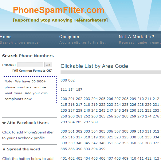 phone spam area code   PhoneSpamFilter: Stop Telemarketing Phone Calls