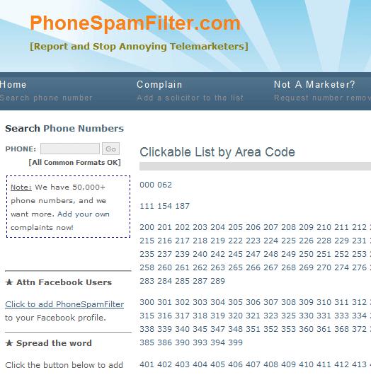 phone spam area code   PhoneSpamFilter: Stop Telemarketing Phone Calls