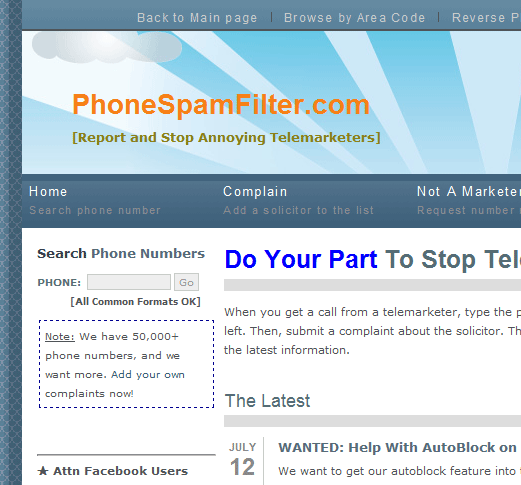 phone spam filter   PhoneSpamFilter: Stop Telemarketing Phone Calls