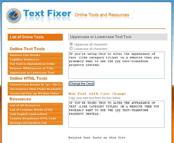 TextFixer: Text to Capitals, Remove Line Breaks & Whitespaces etc