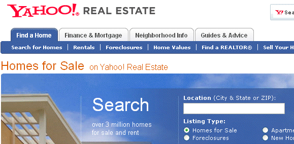 The 5 Most Significant Online Property Search Engines - Part 3,4, 5 yahoorealestatemain