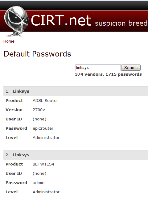 default password for linksys router