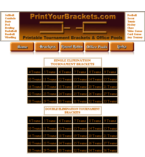 printyourbrackets   PrintYourBrackets: Printable Tournament Brackets And Office Pools