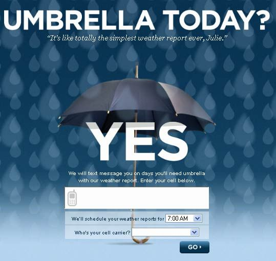 umbrella today   UmbrellaToday: Get SMS Alerts for When It Might Rain