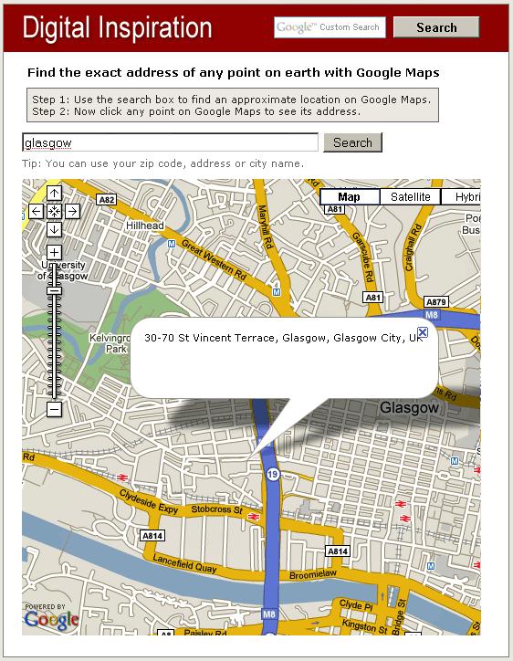 Find Postal Address of any Location on Google Maps