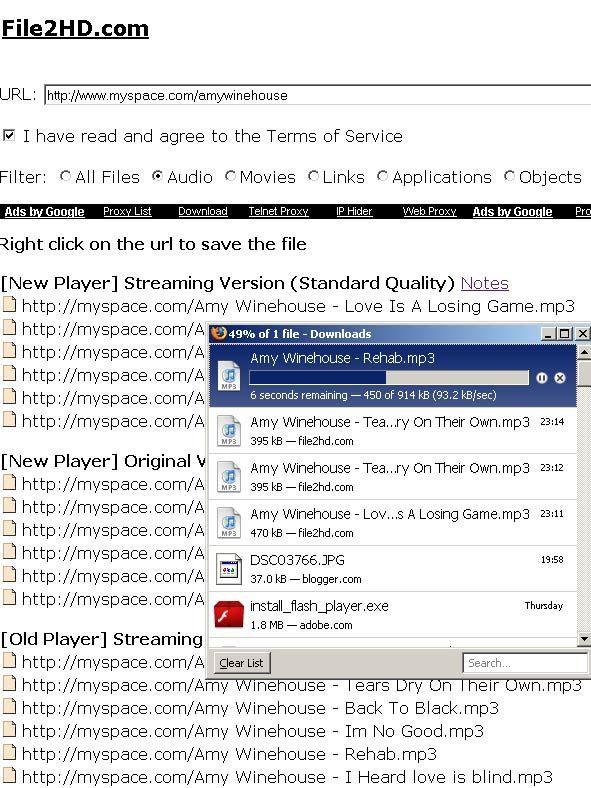 file2hd - download mp3 from imeem or myspace