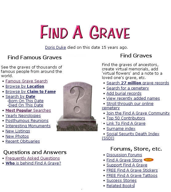 find a grave - search cemetery records