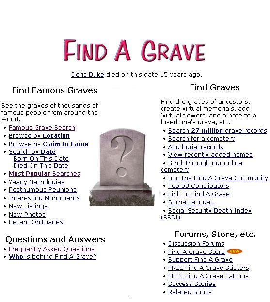 find a grave - search cemetery records