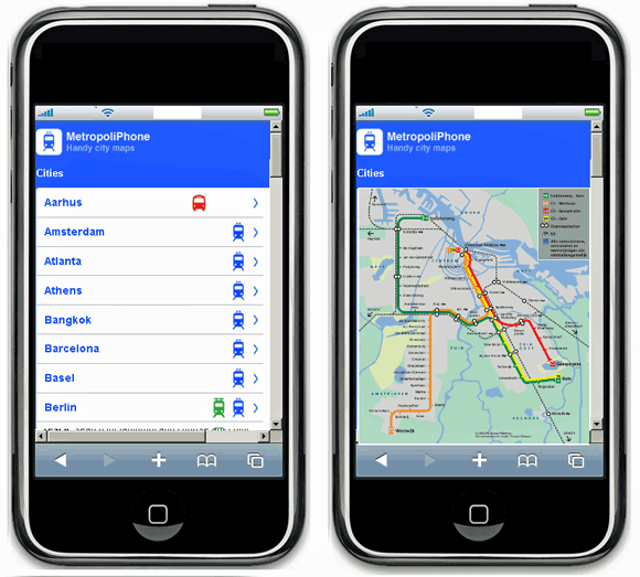 subway, bus and train route maps on iPhone
