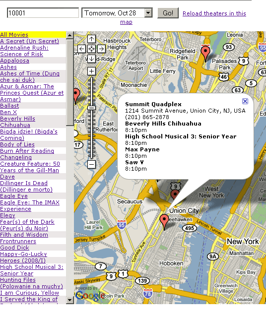 MovieShowTimeMap - Movie Showtimes In Your Area