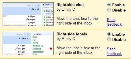 Move Labels and Chat to the Right