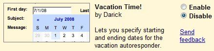 Vacation Time Auto-repsponder
