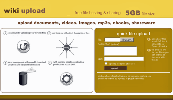 wikiupload   WikiUpload: Store and Share Videos, Images, MP3s & eBooks Online