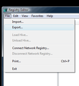 backup windows registry
