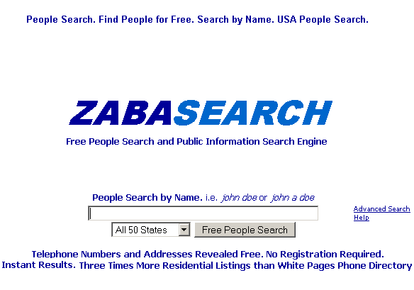 zabasearch -  search people by name and address