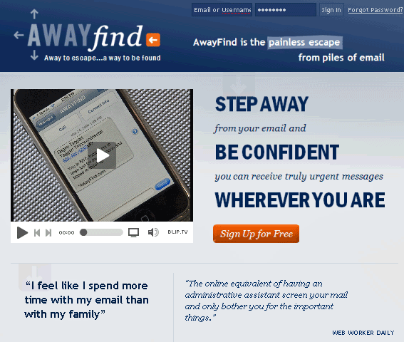 AwayFind - receive email as sms