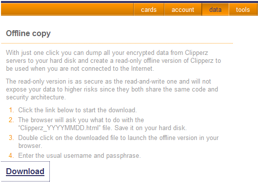 Clipperz - Online Password Manager (with Offline Option) clipperz password manager o